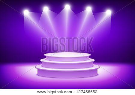 3D Violet Illuminated Stage Podium For Award Ceremony Illustration