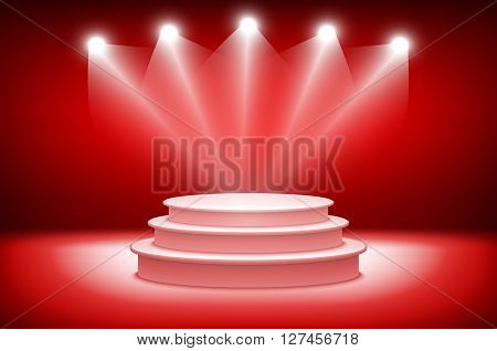 3D Theatrical Background. Scene And Red Curtains. Red Podium On A Background Of Red Drape Curtains.