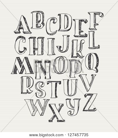 Hand-drawn ABC letters isolated on white background. Hand drawn ink 3d font funky and grunge alphabet vector graphic illustration. Scratched hatch at the shade side using stippling and lines.