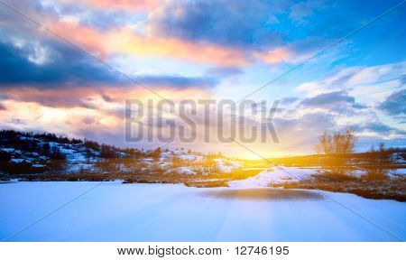 winter north lake and sunset
