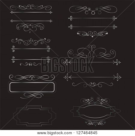 Decorative sliver  vintage borders and frames set vector
