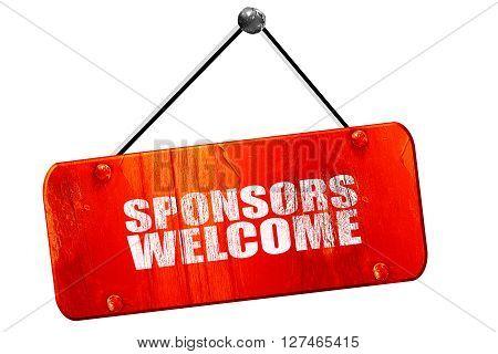 sponsors welcome, 3D rendering, red grunge vintage sign