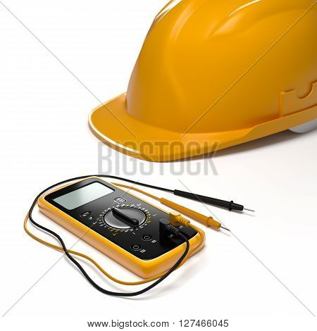 digital multimeter and helmet on white isolated background