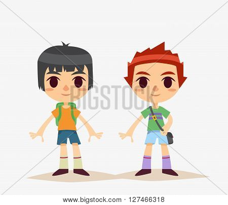 Cute Cartoon Kids Isolated. Boy. Vector Illustration.