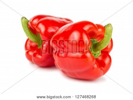 Pair of red sweet peppers on white background