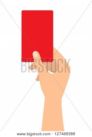 Football soccer referee hand with red card on white background.