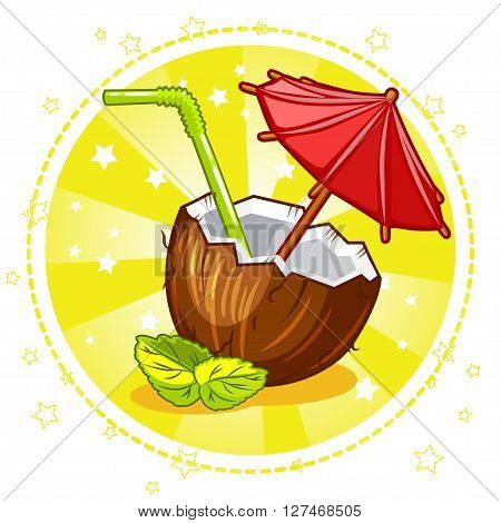 Exotic coconut cocktail. Set Vector Stock Illustration