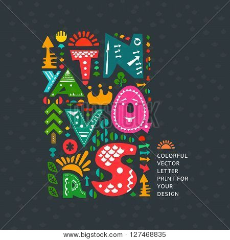 Vector colourful print on dark background. Alphabet cute letters and other design elements in ethnic style