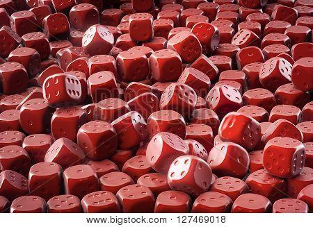 Heap of many milky chocolate dice illustration 3D