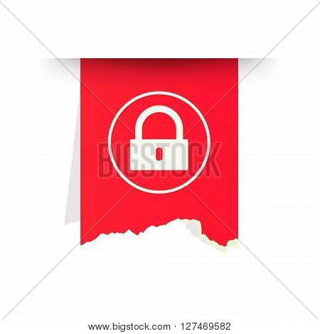 the red tattered label with lock pictogram