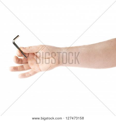Worker's caucasian male hand holding a hex metal allen L key tool, composition isolated over the white background