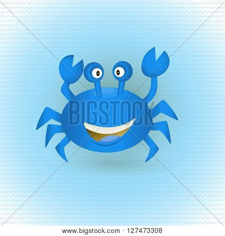 Cute hand drawn blue crab with shadow on wavy ocean. Tropical sea life graphic design elements. Summer icon. Colorful vector cartoon illustration.