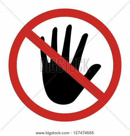 Prohibited circle do not touch sign with black hand. Vector illustration design.