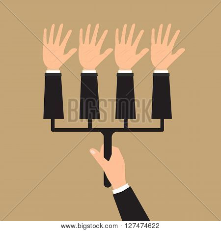 Human hand hold multiple hands for voting. Vector illustration elections votes fraud concept design.