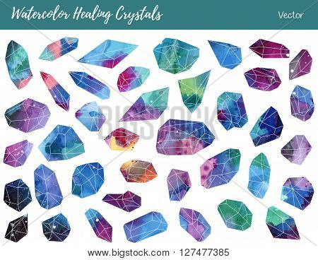 Collection of of colorful healing crystals isolated on a white background. Watercolor hand painted green blue pink purple aquamarine minerals gemstones. Vector graphic design elements.
