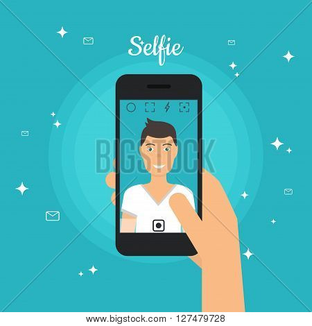 Man Taking Selfie Photo On Smart Phone. Self Portrait Picture For Smartphone. Selfie Concept Design
