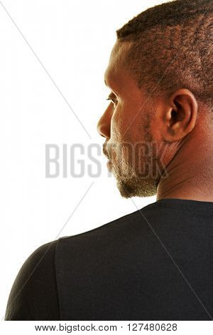 Face of black man in profile view from behind