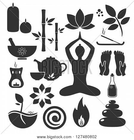 Set ayurveda icons. Vector illustration. Ayurveda logos isolated. Design elements for ayurveda center yoga studio spa center. Ayurveda sticker. Beauty icons set