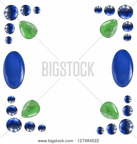 Frame of blue and green gems isolated over white