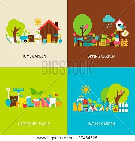 Spring Garden Vector Flat Concepts Set