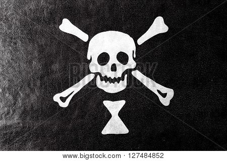 Emanuel Wynn Pirate Flag, Painted On Leather Texture