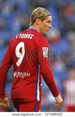 BARCELONA - APRIL, 9: Fernando Torres of Atletico Madrid during a Spanish League match against RCD Espanyol at the Power8 stadium on April 9, 2016 in Barcelona, Spain