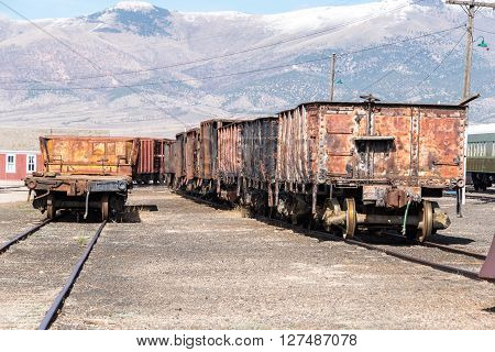 East Ely, Nevada,USA. 11th May 2015 Vintage rollling stock at Nevada Northern Railway Museum