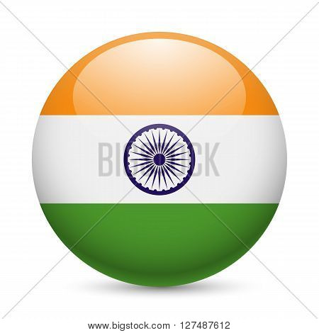 Flag of India as round glossy icon. Button with Indian flag