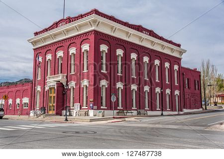Eureka,Nevada, USA 11th May 2015. The Court House, built 1879 in the former mining community of Eureka, in Great Basin National Park, Nevada, USA