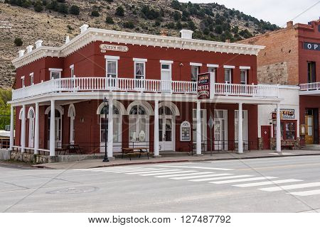 Eureka,Nevada, USA 11th May 2015, Jackson House Hotel in the former mining community of Eureka, in Great Basin National Park, Nevada, USA