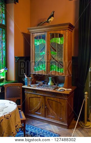 Riga Latvia 26 August 2015: Authentic interior in apartment of architect Konstantins Pekshens in Art Nouveau Museum located at Alberta Street 12 in Riga Latvia. poster