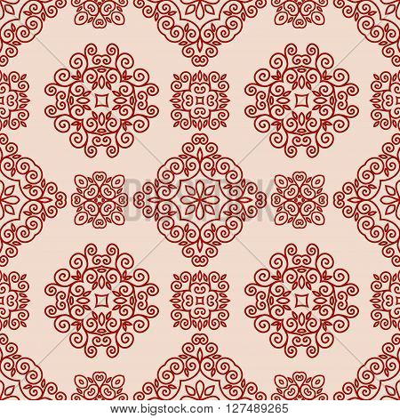 Ornamental decorative seamless lace pattern in mono line style
