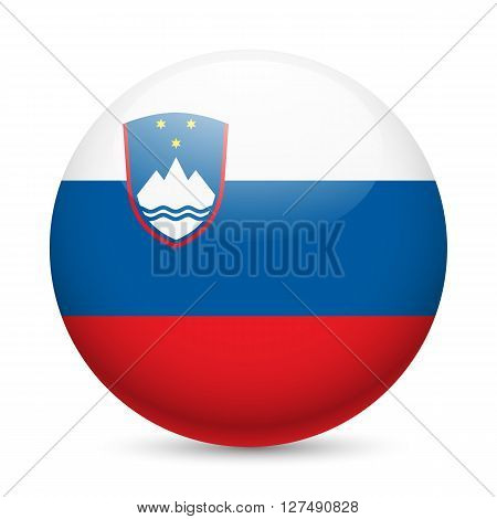 Flag of Slovenia as round glossy icon. Button with Slovene flag
