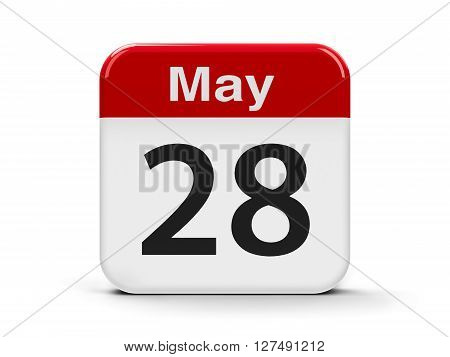 Calendar web button - The Twenty Eighth of May three-dimensional rendering 3D illustration