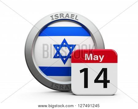 Emblem of Israel with calendar button - The Fourteenth of May - represents the Israel independence day three-dimensional rendering 3D illustration