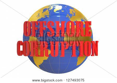 Offshore Corruption concept 3D rendering isolated on white background