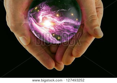 Holding the universe in fortune teller magic crystal ball 3D illustration