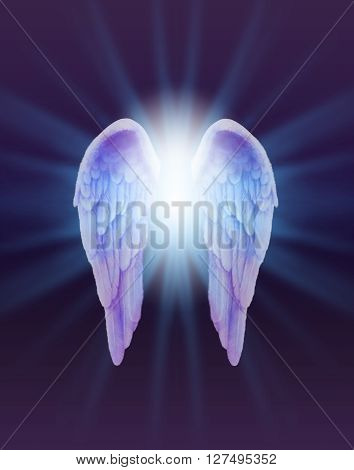 Blue and Lilac Angel Wings on a dark background - a pair of finely feathered  Angel Wings with a bright white light bursting between  radiating outwards subtle blue on a dark purple and black background