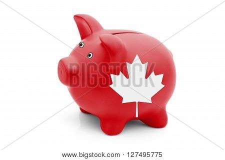Saving and Investing in Canada A red piggy bank with a white Canadian maple leaf flag isolated on white