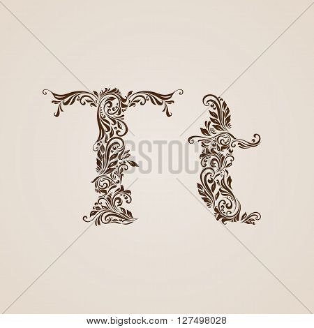 Handsomely decorated letter t in upper and lower case.