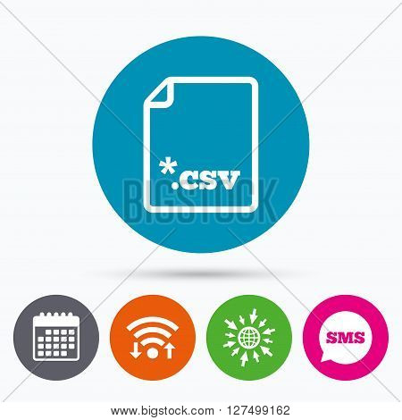 Wifi, Sms and calendar icons. File document icon. Download tabular data file button. CSV file extension symbol. Go to web globe.