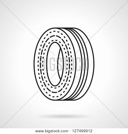 Steel wheel rim for car or motorcycle. Motor spare parts. Spare tire. Repair and maintenance garage. Flat line style vector icon. Single design element for website, business.