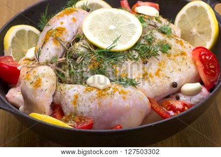 Broiler Chicken In A Frying Pan