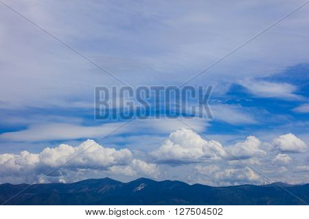 Idyllic scene of skyscape over land in daylight