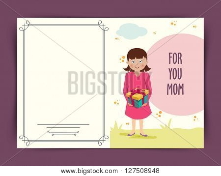 Elegant greeting card design for Happy Mother's Day celebration. Illustration of a cute girl holding gift for her mom on nature background.