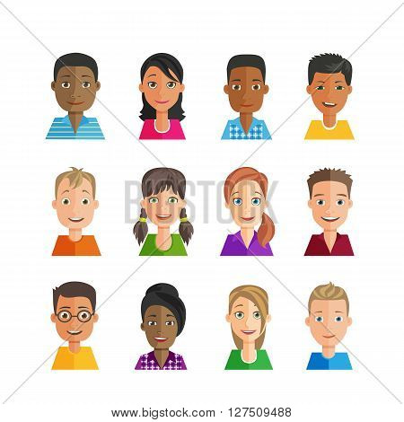 Vector set of avatars with expressions. Multi-ethnic, many nationalities, male and female. Young people with emotions on the faces.  Flat design style.