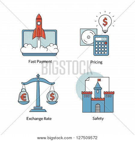 Set vector conceptual icons for of Ecommerce or online business. Fast payment, pricing, safety, exchange rating. Tools for buy or sell on-line