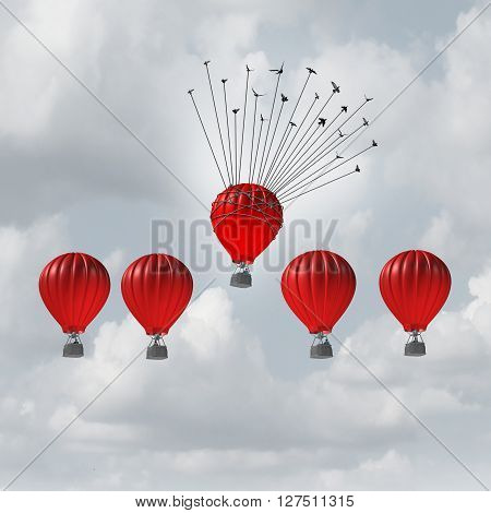 Group help concept competitive edge and business advantage concept as a group of 3D illustration hot air balloons racing to the top but an individual leader helped by a flock of birds lifted highest.