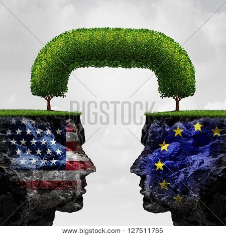 American European partnership and international trade agreement financial concept as two seperate mountain cliffs united together by a connected tree as a global cooperation symbol in a 3D illustration style.