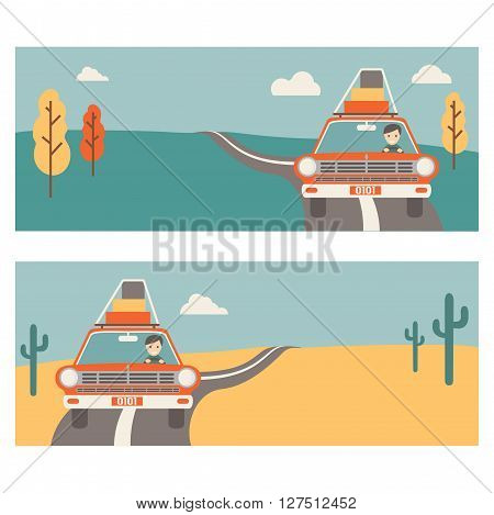 Vector template for banners about travel on the car. 2 banners summer desert and autumn. Happy tourist in the car with luggage retro style.
